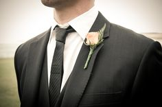 love this for the groom. black tux and skinny tie.