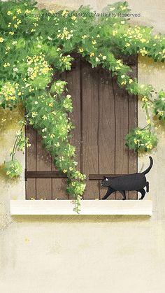 New Wallpaper Cat Artworks 40 Ideas Cat Wallpaper, Kawaii Wallpaper, Pastel Wallpaper, Aesthetic Iphone Wallpaper, Aesthetic Wallpapers, Wallpaper Backgrounds, Japon Illustration, Cute Illustration, Cat Drawing