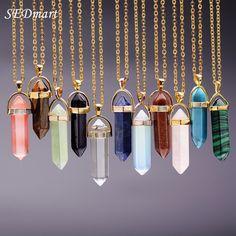 Find More Pendant Necklaces Information about SEDmart Natural Stone Bullet Shape…