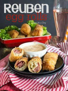 Reuben Egg Rolls are filled with corned beef, swiss cheese and sauerkraut, then served with a side of thousand island dressing! Ridiculously good!