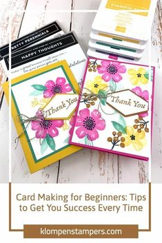 This card making for beginners project will show you all the tips to get you success every time. Create pretty cards easily with this method. Get started at www.klompenstampers.com #cardmakingforbeginners #beginningcardmaking #cardmakingideas #cardmakingvideos #jackiebolhuis #klompenstampers Card Making Tips, Card Making Techniques, One Sheet Wonder, Pretty Cards, Card Maker, Ink Pads, Card Tags, Paper Crafts, Card Crafts
