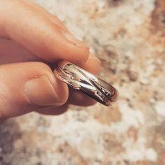 "PLATINUM  Fresh off the bench! Men's ""Branches"" Engraved Wedding Band in Platinum. #minimalistdesign #madeincanadamatters #ethicallymade #naturedesign #contemporaryjewelry #platinum #weddingband"