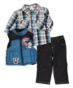 Blue Zip-Up Vest Set - Infant