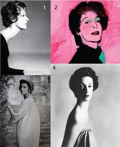 Marella Agnelli  1. Richard Avedon photograph, 1959. Hair by Kenneth. 2. Andy Warhol painting 1972, one of twelve multiples. 3. Richard Avedon photograph 1963, Marella is wearing Balenciaga. 4. Richard Avedon photograph 1953, recently sold at Sotheby's New York for 62,500 dollars.