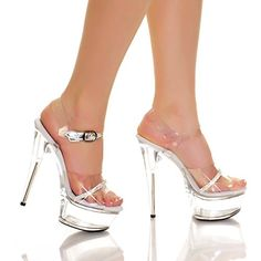 "THE HIGHEST HEEL AMBER-861-RS Women's 6"" Ankle Strap Platform Sandals Sexy Shoes, Color:Clear Vinyl, Size:6. Size: Size 6. Includes: Heels."