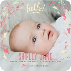 Circled with Love - Girl Photo Birth Announcements - Ladyfingers Letterpress - Wild Strawberry - Pink : Front