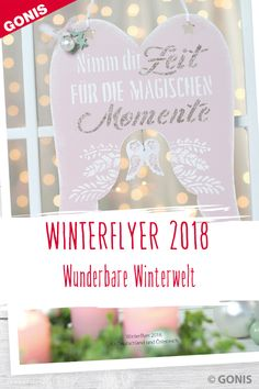 Entdecken Sie weihnachtliche Dekorationen mit neuen und winterlichen Produkten von GONIS im Winterflyer 2018. Winter, Diy, Crafts, Projects, Christmas, Dekoration, Crafting, Winter Time, Manualidades
