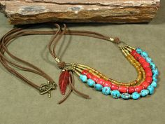 Turquoise Necklace Leather Necklace Tribal by StoneWearDesigns