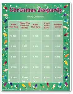 Printable Christmas Jeopardy More upcycled christmas decorations, hosting christmas party, painted christmas ornaments diy Christmas Games For Family, Xmas Games, Holiday Party Games, Xmas Party, Christmas Holidays, Christmas Parties, Christmas Ideas, Christmas Crafts, Merry Christmas