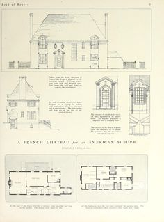 House and Garden's book of houses : containing over three hundred illustrations of large and small houses and plans, service quarters and garages, and such . Architecture Drawings, Historical Architecture, Architecture Plan, Architecture Details, Architecture Blueprints, Vintage House Plans, Vintage Houses, Architectural Prints, Old Houses