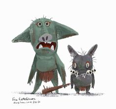 Goblinweek was some time ago so I made two goblins. They're not excited about joining the goblin army after hearing the mortality rate.