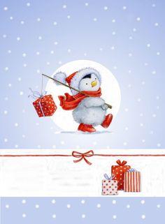 Cute penguin Christmas card topper