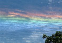 Arcoiris de fuego. Se forma con el Sol ubicado a unos 58º por encima de la línea del horizonte; para que al atravesar las nubes cirros (formadas por cristales hexagonales) forme rayos de colores. Lo normal es que ocurra en las latitudes altas.