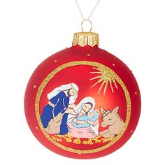 Buy John Lewis Nativity Scene Bauble, Red Online at johnlewis.com
