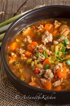 Italian Turkey Burger Soup - one of my most popular soup recipes. Made with lean ground turkey, so healthy and hearty.
