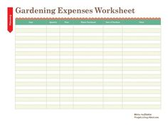 Print This Free Garden Planner: Printable Gardening Expenses Worksheet