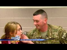 Returning Soldier Surprises Daughter During School Lunch Time