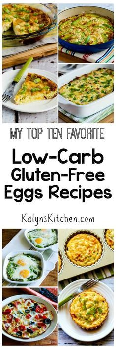 Just in time for special holidays breakfasts, here are my Top Ten Favorite Low-Carb and Gluten-Free Egg Recipes; all of these are easy breakfast ideas that are special enough to make for overnight guests, or just make them for yourself when you need something special for breakfast! [found on KalynsKitchen.com]