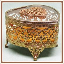 Vintage Shabby Brass Filigree Matson Heart Shape Jewel Trinket Box on Ruby Lane