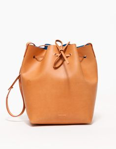 Bucket Bag Cammello/Azzurro