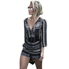 New Rompers Women Jumpsuit Elegant Short Overalls Jumpsuit Female Summer Playsuit Long Sleeve Vintage Printed V Neck Sexy Romper