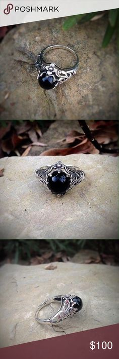 Solid sterling silver black onyx vintage boho ring Unique vintage style solid sterling silver setting with a onyx stone. Jewelry Rings