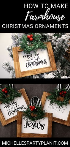Craft these budget friendly DIY Farmhouse Christmas Ornaments with items from the Dollar Tree! Video tutorial by Michelle's Party Plan-It. christmas decor ideas diy How to Make Farmhouse Christmas Ornaments Dollar Tree Christmas, Dollar Tree Crafts, Diy Christmas Gifts, Christmas Projects, Christmas Tree Decorations, Christmas Tree Ornaments, Holiday Crafts, Diy Ornaments, Homemade Christmas