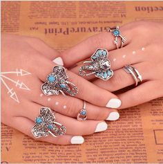 6 Pieces Bohemian Ring Set