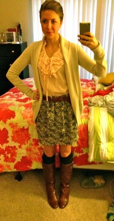 skirt with knee socks and boots love this whole outfit even hair