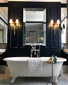 We couldn't imagine a better place to welcome a relaxing soak than in our Winchester bath in 's traditional – Creative Bathroom Interior Design, Bathroom Styling, Interior Decorating, Winchester, Roll Top Bath, Bathtub Remodel, New Toilet, Shower Surround, Budget Bathroom
