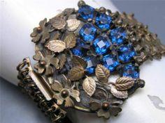 Wide Vintage Art Deco Sapphire Glass Brass Flower Bracelet | eBay