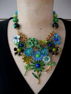 Vintage Enamel Flower Necklace, Bib Necklace,  Statement Necklace - Bluebell
