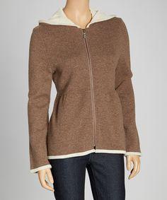 This Kristen Blake Heather Brown Wool-Blend Hooded Jacket by Kristen Blake is perfect! #zulilyfinds
