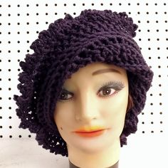 Crochet Hat Womens Hat Steampunk Hat LISA Picot Crochet Beanie Hat Purple Hat strawberrycouture 40.00 USD