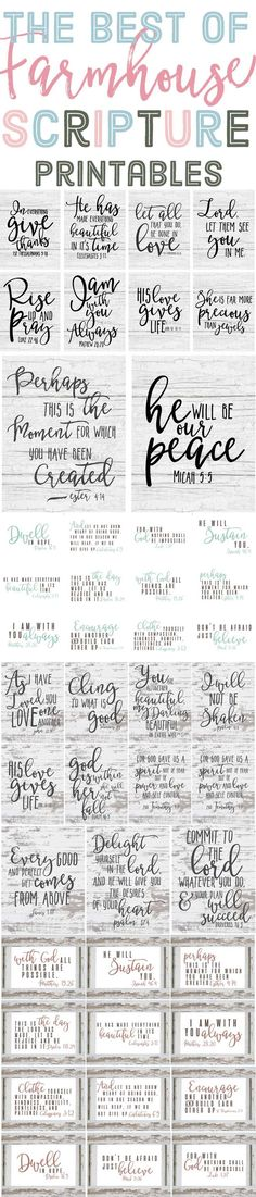 The Best of Free Farmhouse Style Scripture Printables is part of Scripture printables - The best of Farmhouse style scripture printables! Last year I shared many free farmhouse style printables with you guys, like the ones in Do It Yourself Home, Vinyl Projects, Circuit Projects, Wooden Signs, Beautiful Words, Making Ideas, Just In Case, Free Printables, Inspirational Quotes