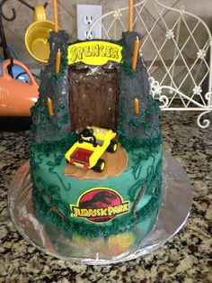 I made this cake for my nephews birthday. My first really elaborate cake. Everything but the candle and Lego Jeep are edible. Steampunk Wedding Cake, Holi, Jeep, Wedding Cakes, Career, Universe, Birthday Cake, Candles, Desserts