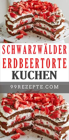Schwarzwälder Erdbeertorte Black Forest cake was yesterday. Here comes the lactose-free relaunch wit Healthy Snacks For Diabetics, Healthy Smoothies, Smoothie Recipes, Easy Cake Recipes, Snack Recipes, Cake Vegan, Chocolate Cake Recipe Easy, Healthy Crockpot Recipes, Light Recipes