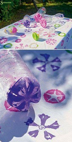 DIY Idee um mit Plastikflaschen zu stempeln