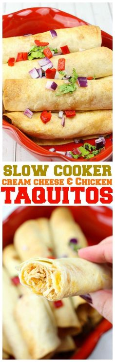 Slow Cooker Cream Cheese Chicken Taquitos - Looking for a homemade taquito recipe? Look no further with these delicious slow cooker cream cheese chicken taquitos, made perfectly during the day so you