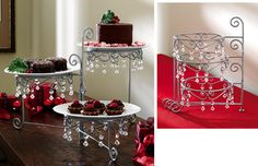 Beaded 3 Tier Silvertone Swivel Server....add red candy hanging ornaments....