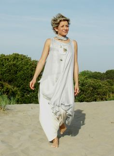 Tunic 'Roma' double veil of pastel blue silk worn over  a linen skirt sarouel