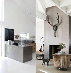 Cement rendered kitchen benchtop, tree stump coffee table.  Déco Béton & idées DIY | Sokeen