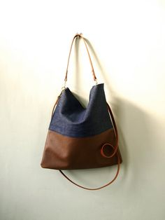 Leather Denim Tote Bag HARRIS Adjustable Leather by JeanieDeans, $79.00