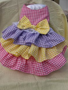Triple Ruffle Pink, Yellow, and Lavender Checked Dog Dress Yorkie Clothes, Pet Clothes, Doll Clothes, Dog Clothing, Dog Clothes Patterns, Pet Fashion, Dog Pattern, Dog Costumes, Dog Sweaters