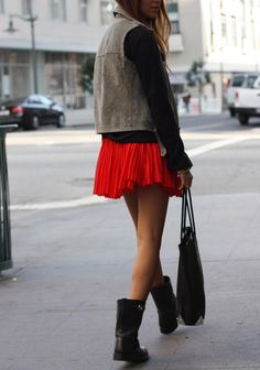 Red Pleat Skirt