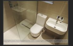 """Tiny bathroom - In a very limited space, this sort of """"wet room"""" bathroom makes… Wet Room Bathroom, Tiny Bathrooms, Bathroom Renos, Bathroom Layout, Basement Bathroom, Master Bathroom, Bathroom Storage, Bathroom Hooks, Bathroom Ideas"""