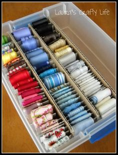 Because I have so many ribbons & what worked for me:  used  12 x 12 card stock containers.  Works great for me.  Time consuming at first.  Takes less space than other systems I have tried.