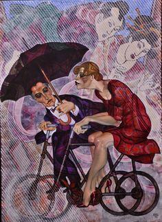 PEDALING IN THE RAIN by Juarez Machado: 2015 , umbrella, bicycle