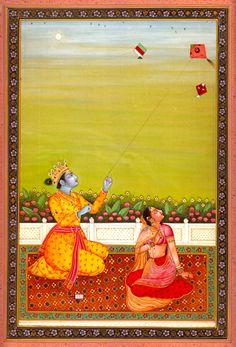Radha Krishna Flying Kite | KAILASH RAJ | Mughal Art