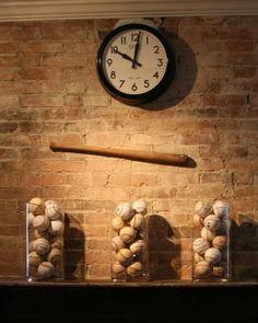 Love the vases of baseballs! Baseball Display, Man Cave Ideas For Basement, Basement Office, Basement Sports Bar, Man Cave Basement, Man Cave Loft, Man Cave Diy, Basement Bars, Baseball Stuff
